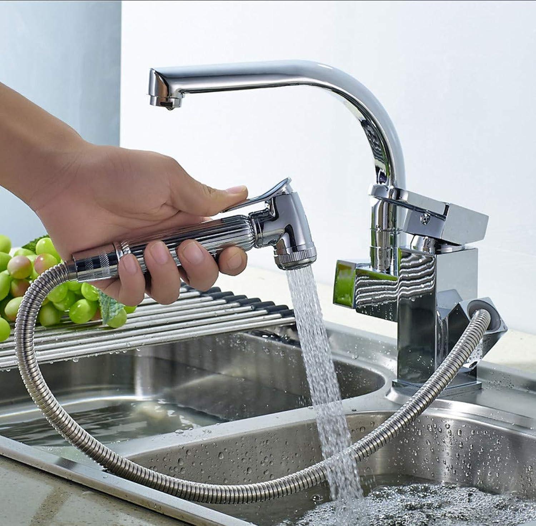 Küchen-Pull-Typ Wasserhahn warme und kalte Spülen Teleskopkupfer