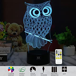 3D Illusion Animal Owl Remote Control LED Desk Table Night Light Lamp 7 Color Touch Lamp Kiddie Kids Children Family Holiday Gift Home Office Childrenroom Theme Decoration by HUI YUAN