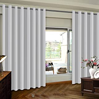 Extra Wide Patio Door Curtain for Sliding Glass Door Grommet Top Sliding Door Curtain for Guestroom Privacy Blinds for Patio, Extra Wide Drapes,8.3ft wide x 7ft long, One Panel, Greyish White