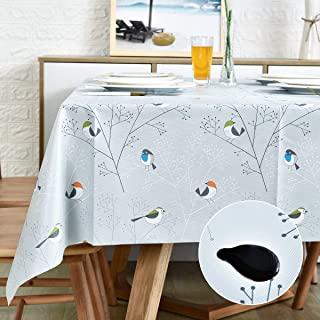 LOHASCASA Vinyl Oilcloth Tablecloth Rectangle Wipeable Peva Waterproof PVC Heavy Duty Stainproof Spillproof Large Tablecloth Farm Thanksgiving Banquet BBQ Bird 9 ft 54 x 108 Inch