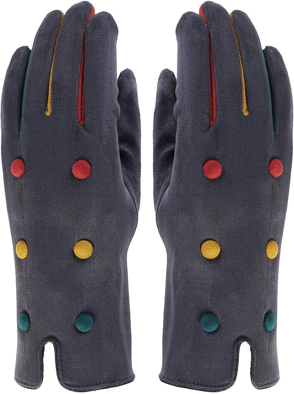 Ladies Womens Lagenlook Multicolour Button Detail Suede Effect Touch Screen Winter Gloves