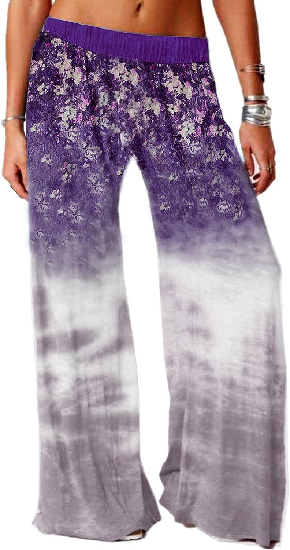 Misaky Women's Comfy Yoga Pants Floral Print Boho Palazzo Pajama Pants Stretch Drawstring Lounge Wide Leg Pant