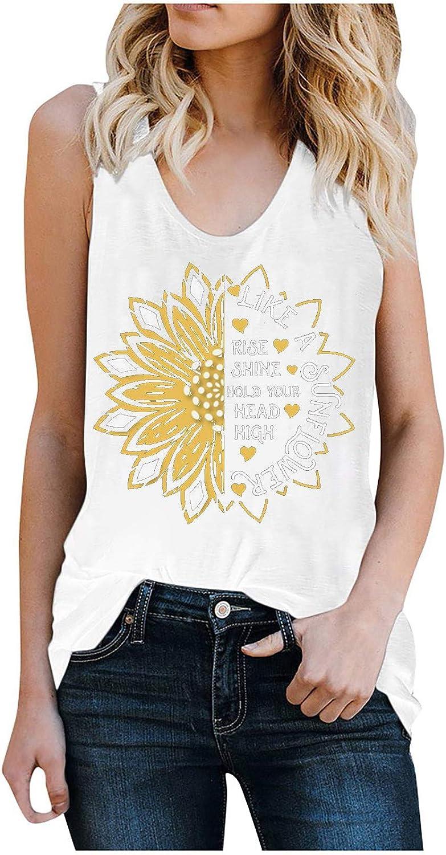 Like A Sunflower Letter Vest for Sunflo Boston Max 64% OFF Mall Sleeveless Vintage Women