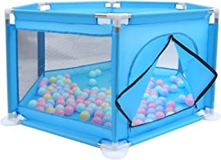 Beauenty Baby Kids Playpen Activity Center Room Fitted Floor - with 50 pcs Balls Safety Protection Care Crawling Folding F...