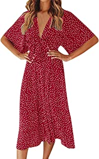 LIKESIDE Dress Casual Polka Dot Vintage Boho Short Sleeve Midi Beach Dresses Red