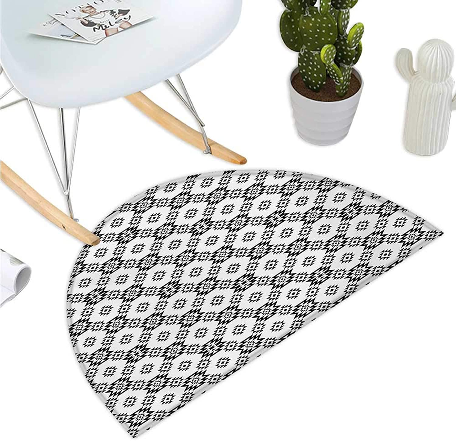 Tribal Half Round Door mats Ethnic Geometric Rhombuses and Triangles Native American Composition Entry Door Mat H 43.3  xD 64.9  Charcoal Grey and White