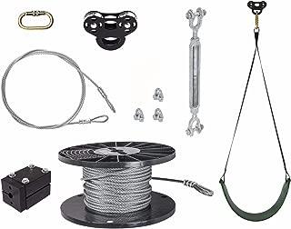 Ziplinegear 100' Black Raptor Zip Line Kit - Durable Easy To Remove Trolley