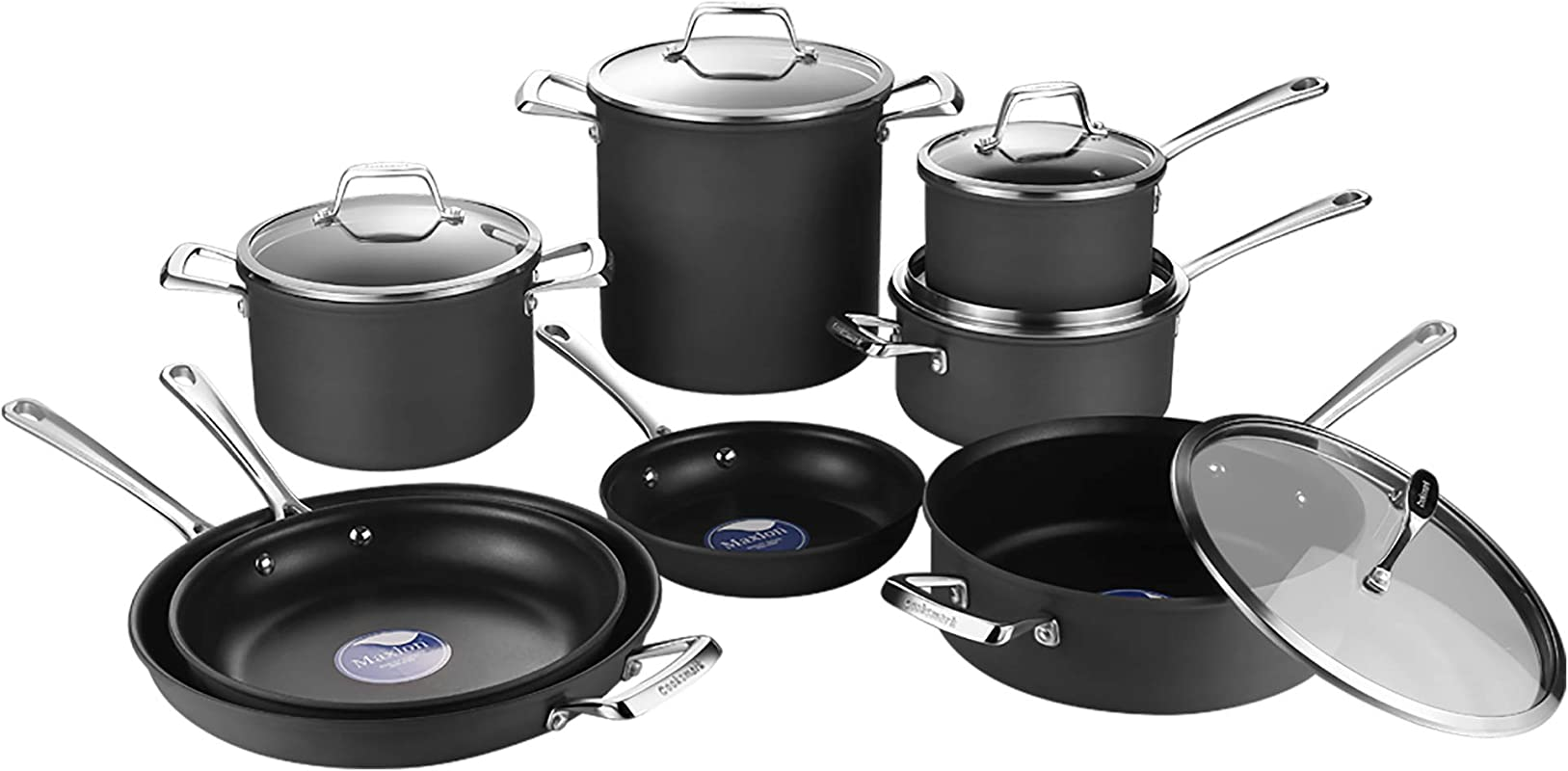 AMERICOOK Black 13 Piece Hard Anodized Pots And Pans Set Non Stick Ceramic Coating Aluminium Induction Cookware Set Pots And Pans With Glass Lids And Non Slip Stay Cool Stainless Steel Handles