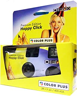 DIFOX Color Plus Premium Edition Happy Click- cámara desechable con flash 400 ASA 24+3