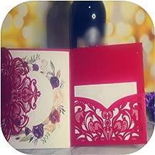 50 P Ivory Tri Fold Laser Cutout Openwork Flower Wedding Invitation Card Set Postcard High End Business Dealings Print,2,Set