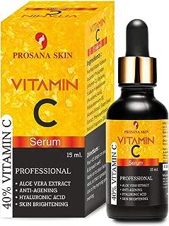 Prosana Skin 40% Vitamin C Serum with hyaluronic acid for face pigmentation, facial oil for anti aging, anti wrinkle, skin lightening, skin brightening for men and women15 ml