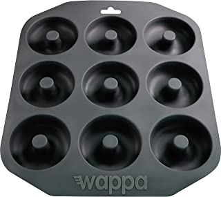 Wappa 1 Large Pan Super Non-Stick Silicone, Makes 9 Full Size Donuts, BPA Free, FDA & German LFGB Approved   Oven and Dishwasher Safe Doughnut Mold, Dark Gray