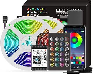 Aibecy Luzes de tira Smart Wifi LED RGB 65,6 pés.Luzes que mudam de cor 5050 com voz e APP e 24 teclas de controle remoto...