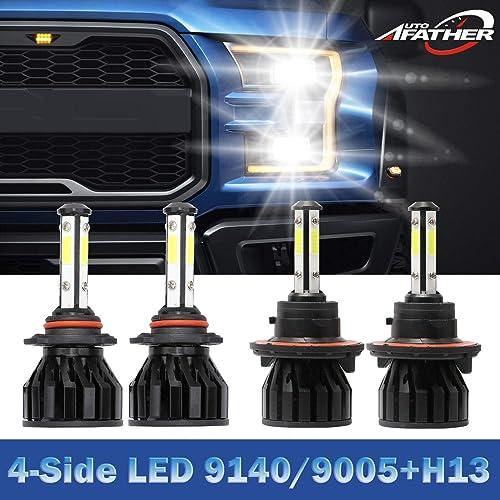wholesale H13 9008 Hi&Lo Beam LED Headlight sale Bulbs + 9005 9145 wholesale 9140 Fog Light Combo Kit For 2004-2014 Ford F-150, 4-Side Chips 12000LM 6000K White online