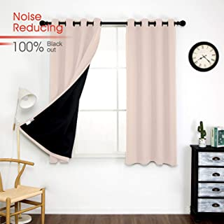 Thermal 100% Blackout Grommet Curtain for Room,Double-Layer Multi-Function Noise Reducing Performance Drapes with Black Lining, Full Light Blocking Drapery Panels,1 pair, 52