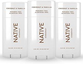 Native Deodorant - Natural Deodorant for Women and Men - 3 Pack Coconut & Vanilla - Aluminum Free, Free of Parabens & Sulf...