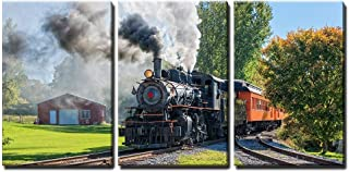 wall26 - 3 Piece Canvas Wall Art - Old Vintage Steam Engine Arriving at The Train Depot - Modern Home Decor Stretched and Framed Ready to Hang - 16
