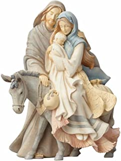 """Foundations (4058697) Holy Family with Donkey Stone Resin Figurine, 9.45"""""""