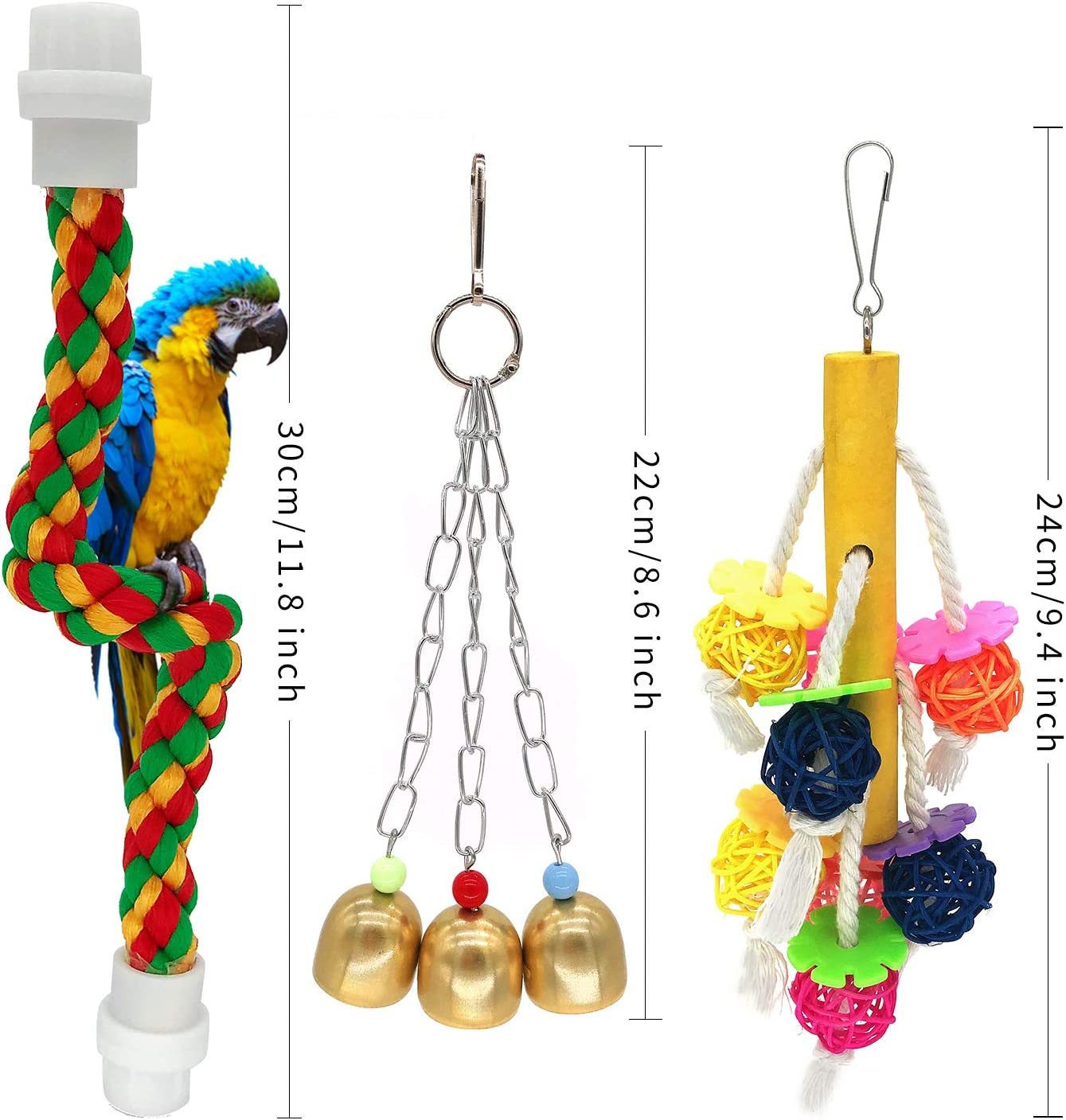 McFeddy Bird Toy Bird Swings Parrot Chew Toy,Pet Hammock Swing Toy,Hanging Bell Small Pet Bird Cage Toy Starlings Finch and Other Small Birds Love Birds Suitable for Small Parrots Macaws