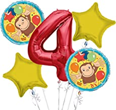 Curious George Balloon Bouquet 4th Birthday 5 pcs - Party Supplies