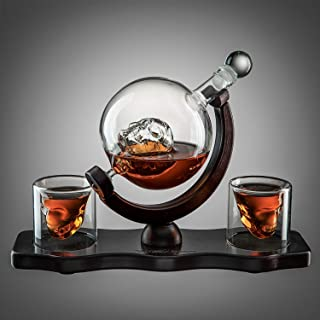 Skull Decanter Set With 2 Skull Shot Glasses - by The Wine Savant - and Beautiful Wooden Base - By Use Skull Head Cup For A Whiskey, Scotch and Vodka Shot Glass, 850ml Decanter 3 Ounces Shot Glass