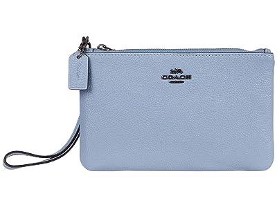COACH Polished Pebble Small Wristlet (V5/Bluebell) Wristlet Handbags