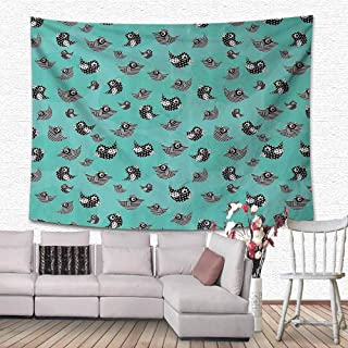 HouseLook Turquoise Decor Collection Tapestries Wall Hanging Pattern of Flying Cute Birds Striped Paper Cut DIY Springtime Romantic Art Tapestry Wall Hanging for Room 80