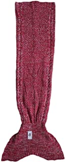 Kpblis Beautiful Mermaid Blanket Tail for Girls, Super Soft and Warm Mermaid Sofa Quilt Sleeping Bag Throw Blanket, Perfect Handmade Knit Crochet for Reading Sleeping with Classic Pattern - 71