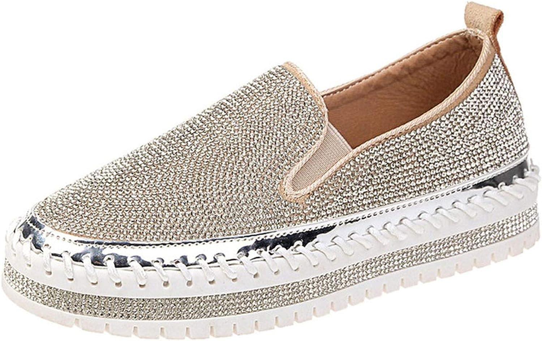 White Island Women Sneakers Slip on Fashion Platform Flats for Lady Spring Autumn Summer Slipony Rhinestone Blingbling Casual