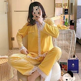 HGDS 2 Piezas de Pijamas Suaves cálidos de Invierno para Mujer, Pijamas de Terciopelo para Mujer, Pijamas de Manga Larga para niñas, Pijamas Dulces para Damas-Amarillo_XXL