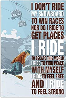 VinMea Decorative Art Printing Poster I Don't Ride My Snowboard Skiing Wall Art Paper Poster Printing Unframed Prints for ...