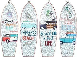 CAPRILO. Set de 4 Adornos Pared Decorativos de Madera Tablas Surf-Beach. Cuadros y Apliques. Decoración Hogar Marinera. Mu...