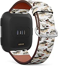 [ Compatible with Fitbit Versa/Versa 2 / Versa Lite ] Replacement Leather Band Bracelet Strap Wristband Accessory with Quick-Release Pins // Japanese Style Crane