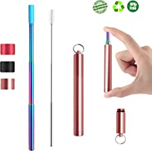 Reusable Collapsible Stainless Steel Straws- Rose Gold- Portable Telescopic Metal Drinking Straw w/Silicone Tip, Cleaning Brush & Travel Case - BPAFree FDA Approved Adjustable Reusable Foldable Straw