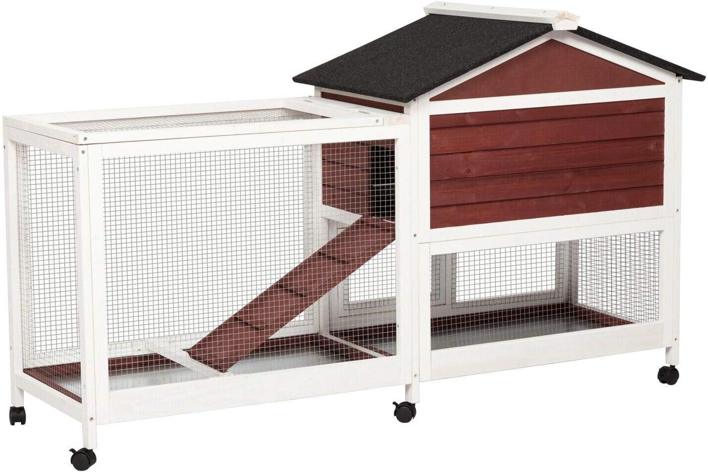 Buy Kintness Large Wooden Rabbit Hutch Indoor and Outdoor Bunny ...