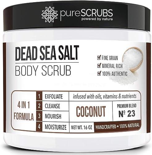 pureSCRUBS Premium Organic Body Scrub Set - Large 16oz COCONUT BODY SCRUB - Dead Sea Salt Infused Organic Essential O...