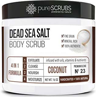 pureSCRUBS Premium Organic Body Scrub Set - Large 16oz COCONUT BODY SCRUB - Dead Sea Salt Infused Organic Essential Oils &...