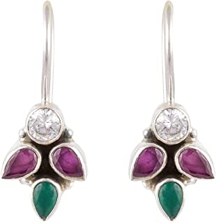 7e043967e Handicraft Fashion Point 92.5 Sterling Silver Ruby Emerald Zircon Silver  Hook Earrings for Women