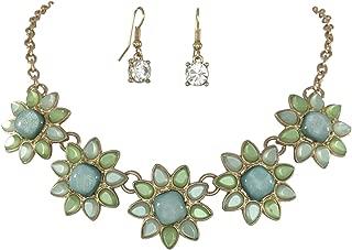 Gypsy Jewels 5 Flower Dot Bib Bubble Rhinestone Gold Tone Statement Necklace Earrings Set