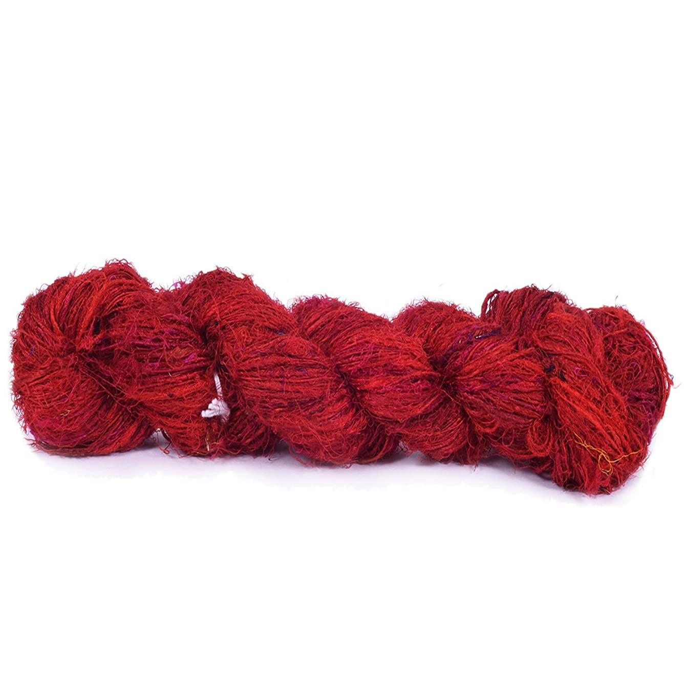 Premium Recycled Sari Silk Yarn - Red Shade 165 Yards | Good for Knitting, Crocheting and Jewelry Making