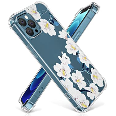 """DTTO Compatible with iPhone 12 Pro Max Case, Clear Soft TPU Anti-Drop Floral [Blooming Series] Cover [Ultra-Thin Stylish Protective] Cover Case for iPhone 12 6.7"""" 2020,White Flower"""