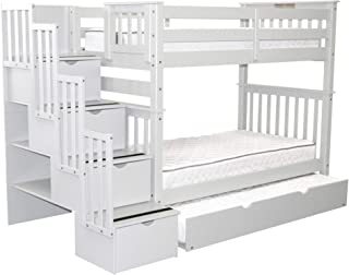 Bedz King Tall Stairway Bunk Beds Twin over Twin with 4 Drawers in the Steps and a Twin Trundle, White