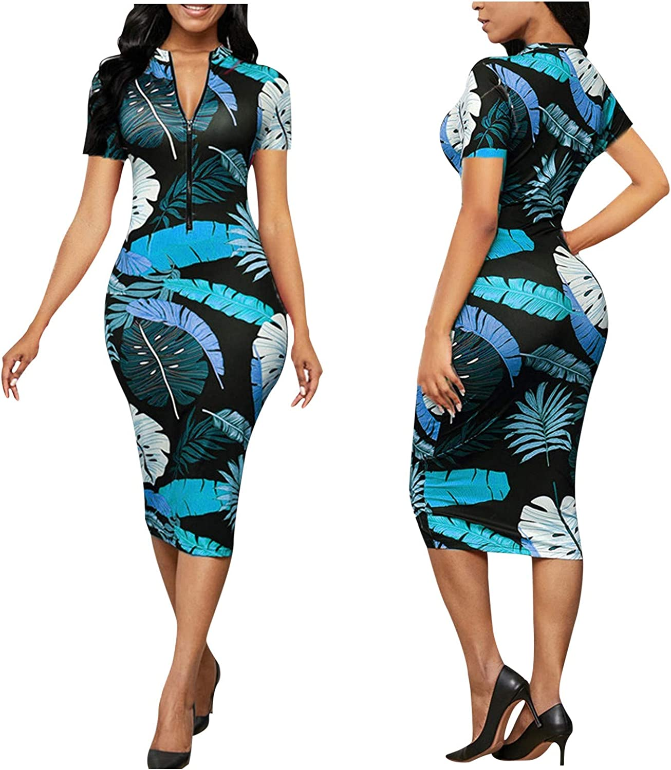 Jumpsuits for Women Casual Sexy, Women's Elegant Sheath Zip-up Leaf Feather Print Slim V Neck Knee Length Dress