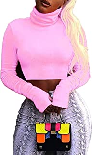 Women Long Sleeve Turtleneck Crop Top Neon Sexy Fitted Shirts