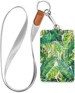 HMZXZ Porte-badge d'identification vertical en cuir synthétique avec motif de feuilles de palmier tropical et cordon détac...