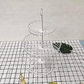 MCE 3-tier fruit mand stand fruitschaal houder eettafel keukenteller organizer metalen portie mand (Color : White)