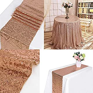 ruiting 2Pcs 12''x72'' Wholesale Rose Gold Sequin Table Runner Sparkly Metallic Table Runner Wedding Runner, Christmas Table Runner Wedding Decorations for Tables (12x72 Inch Rose Gold)