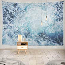 KJONG Ocean Wave Blue Deep Earth Energy Material Sea Storm Surf Decorative Tapestry,60X80 Inches Wall Hanging Tapestry for Bedroom Living Room