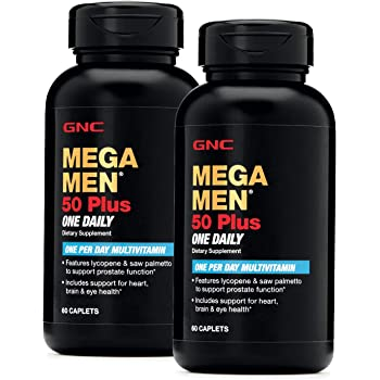 GNC Mega Men 50 Plus One Daily Multivitamin, Twin Pack, 60 Caplets per Bottle, Supports Heart, Brain and Eye Health