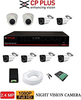 CP Plus Astra HD 8 Ch DVR with 2.4 MP 2 Dome & 6 Bullet Cameras, 2 TB Surveillance HDD, 90m Cable, BNC and DC Full Combo Kit(Black)
